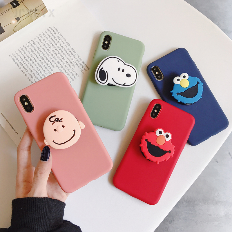 3D Cute Cartoon Soft phone case for iphone X XR XS 11 Pro Max 6S 7 8 plus Holder cover for samsung S8 S9 S10 S20 A50 Note 8 9(China)