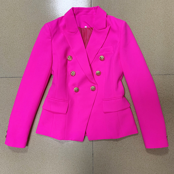 HIGH QUALITY 2020 Stylish Designer Blazer Women's Classic Double Breasted Lion Buttons Slim Fitting Blazer Jacket Hot Pink