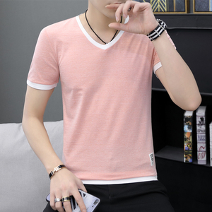 Image 2 - Summer mens short sleeve T shirt v neck han edition half sleeve to fix the body whose summer wear mens clothes