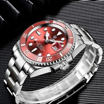 2021 Red Men Watches Top Brand Luxury Sapphire Watch Waterproof Automatic Mechanical Watch Mens Fashion Sport 316L Steel Clock 2