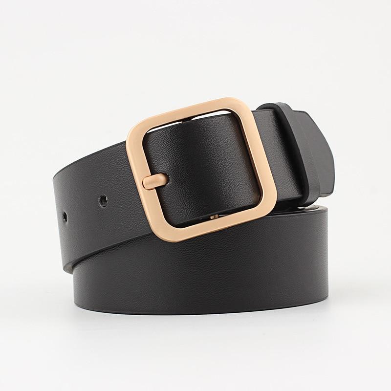New Wide Leather Waist Strap Belt Women Gold Square Pin Metal Buckle Belts Woman Belts For Jean Ceinture Femme Pasek Damski Riem