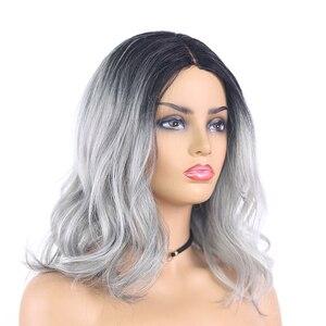 Image 2 - Ombre cinza marrom colorido perucas sintéticas do laço onda natural curto bob perucas para as mulheres de alta temperatura do laço peruca cabelo peças X TRESS