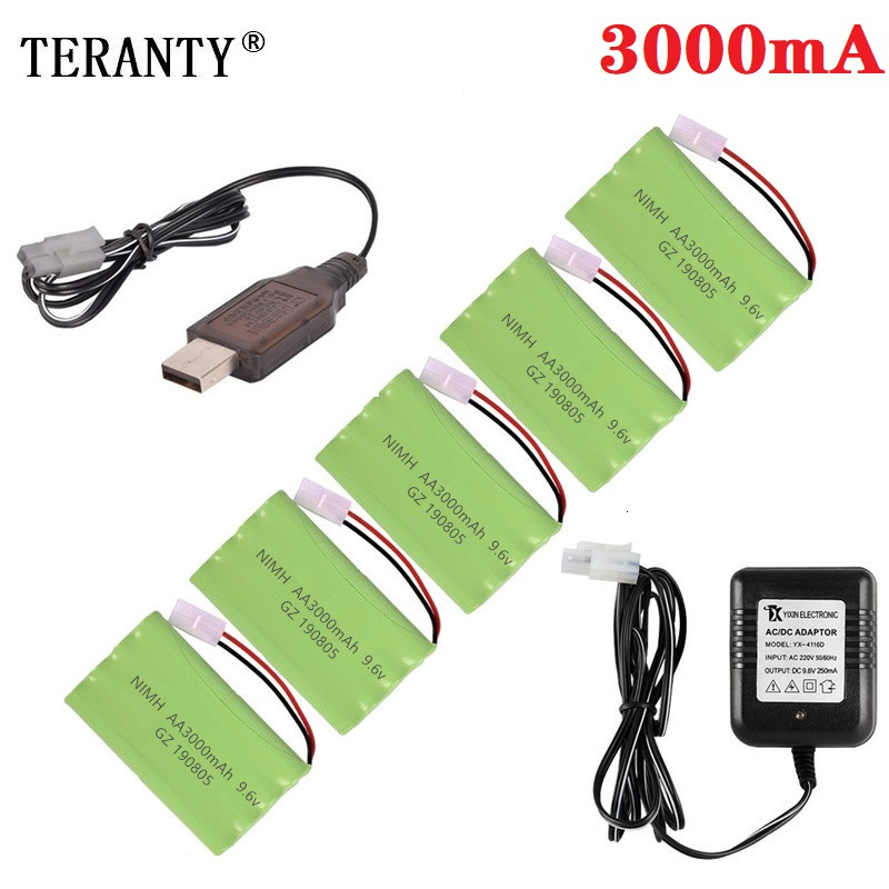( H Model ) Ni-MH 9.6v 3000mah Battery + USB Charger For Rc Toys Car Tank Train Robot Boat Gun AA 9.6v Rechargeable Battery Pack