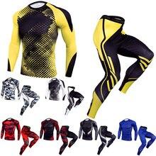 Мужская быстросохнущая компрессионная рубашка, брюки, набор, тренировка, баскетбол, бег, тренажерный зал, облегающая, с длинным рукавом, леггинсы, тактическая одежда