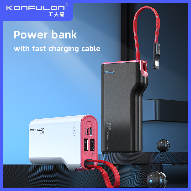 Power Bank 10000mah Built In Cable Powerbank Fast Charger Power Banks Slim External Portable Charger Bank Power For Iphone