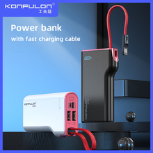 Power Bank 10000mah Built In Cable Powerbank Fast Charger