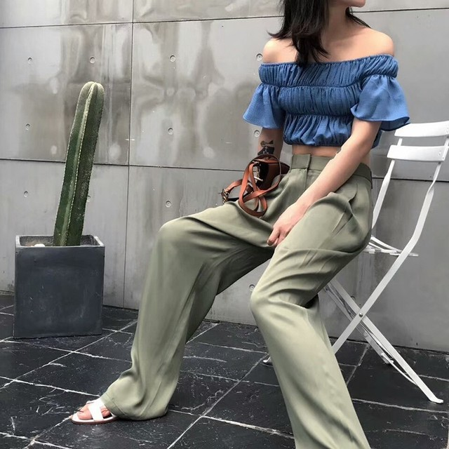 CHICEVER Summer Casual Solid Pants For Women High Waist Zipper Pocket Big Large Size Long Wide Leg Pants Fashion Clothing New 2