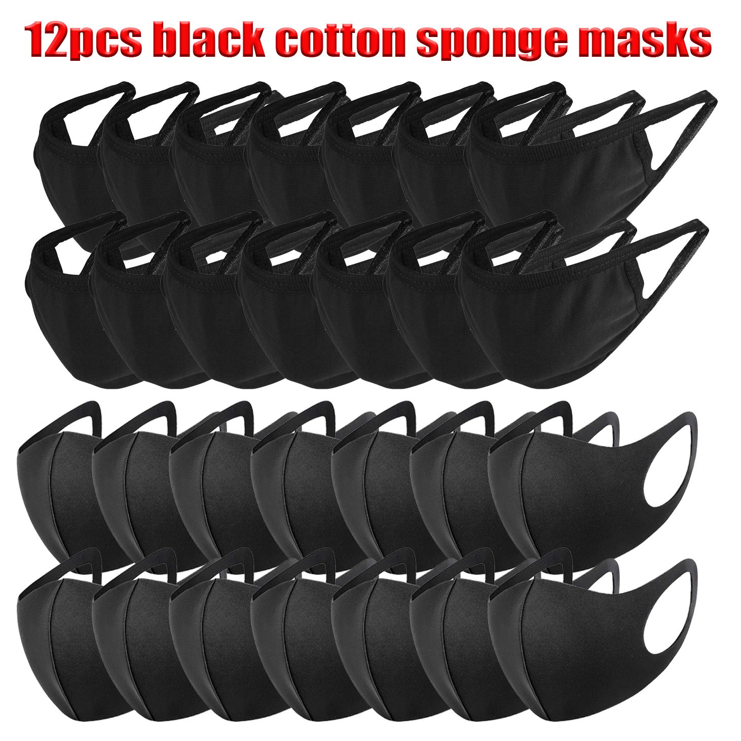 12pcs Anti-Dust Face Mask Respirator 10 Masks Black Cotton Mouth Mask Breathing Muffle Face Cover Outdoor Adult Kids Mas 6/12pcs