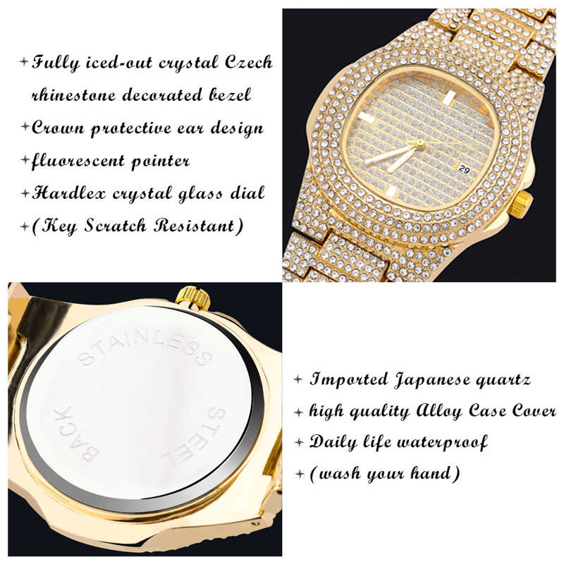 TOPGRILLZยี่ห้อIced Outเพชรนาฬิกาควอตซ์Gold HIP HOPนาฬิกาMicropave CZสแตนเลสสตีลนาฬิกานาฬิกาRelogio