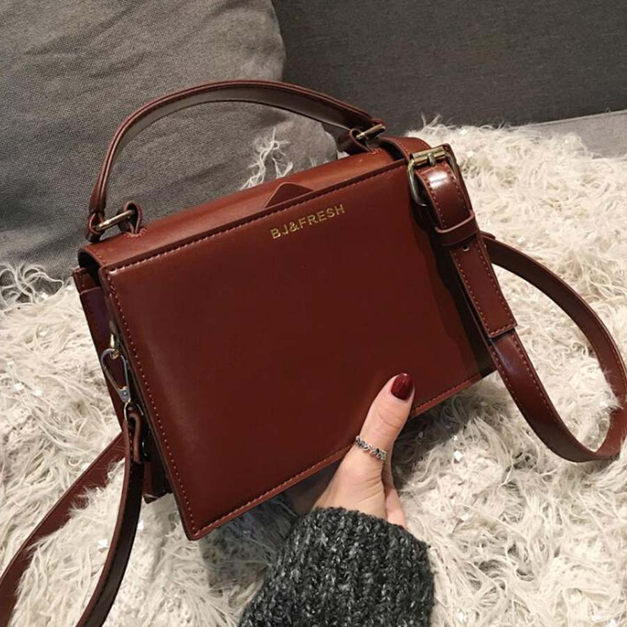 Litthing Pu Small Square Bag Women Handbag Fashion Dark Color Shoulder Messenger Bags Lady Crossbody Bags Korean Style Clutch