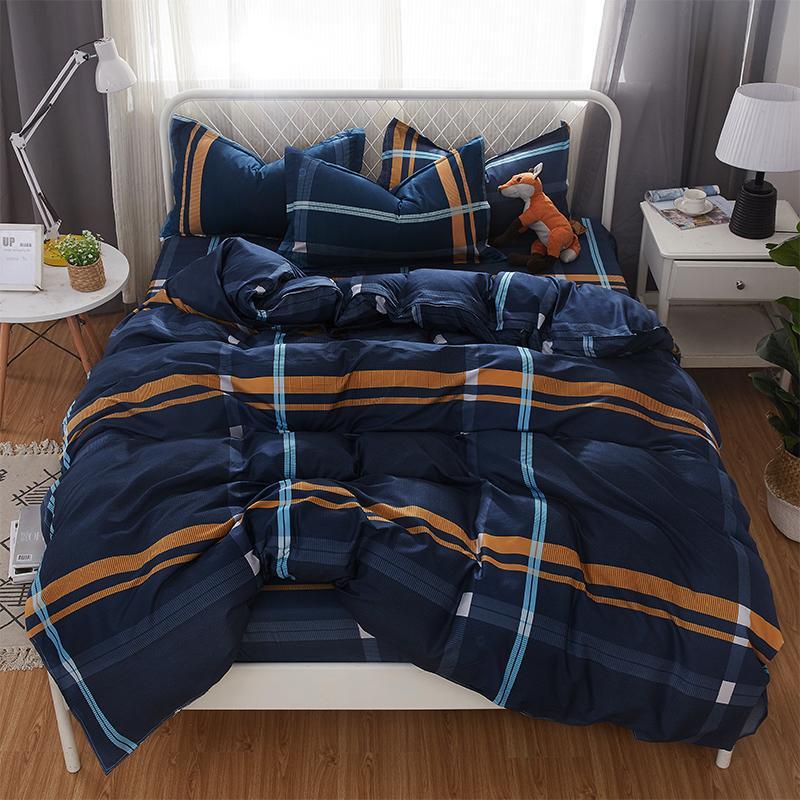 50  5 SizeStripe Heart Black Bed Linen 4pcs/set Duvet Cover Set Pastoral Bed Sheet AB Side Duvet Cover 2019 Bed