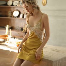 Sexy Nightgowns Women Sleepwear Spring and Summer Deep V Lace Ice Silk Beauty Back Strap Night Dress Temptation Home Clothes