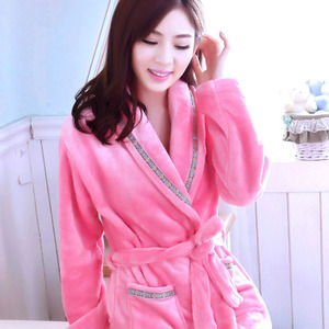 Image 4 - Robes Women Winter Sleepwear Thicken Long Bathrobe Womens Flower Flannel Kimono Nightwear Warm Soft Full Sleeve Print Cartoon
