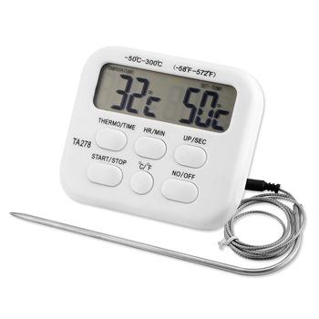 1 sztuk cyfrowy termometr piekarnika do kuchni do jedzenia gotowanie mięso Grill sonda z zegarem temperatura mleka wody gotowanie narzędzia kuchenne tanie i dobre opinie Gospodarstw domowych termometry