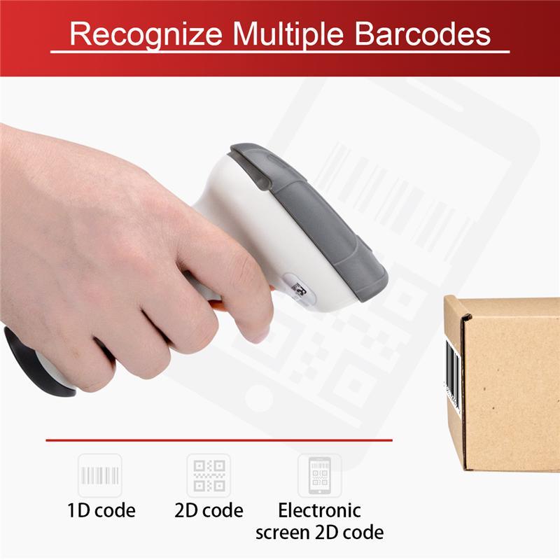 Bezprzewodowy Bar skaner kodów kreskowych skaner kodów USB ręczny 1D/2D QR kod kreskowy czytnik do inwentaryzacji sklep