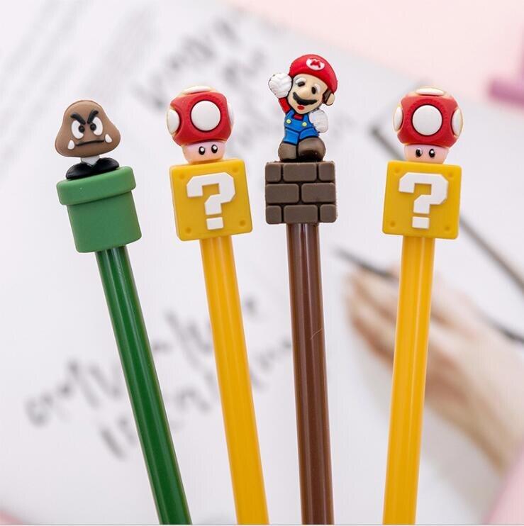 1 шт., милая гелевая ручка kawaii Super Mario, милые школьные канцелярские принадлежности, креативные милые забавные аниме