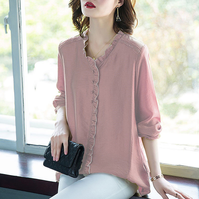 Women Spring Autumn Style Blouses Shirts Lady Casual V-Neck Long Sleeve Loose Style Blusas Tops DD8853 2