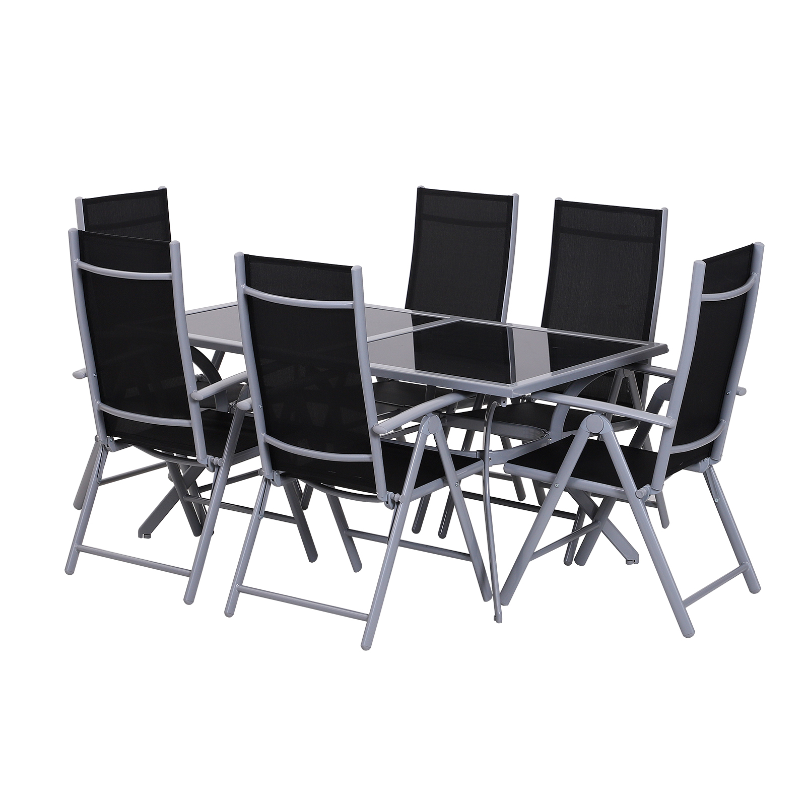 Outsunny Set bahçe mobilya masa 6 sandalye ile geri ila 7 kat yapı patentli