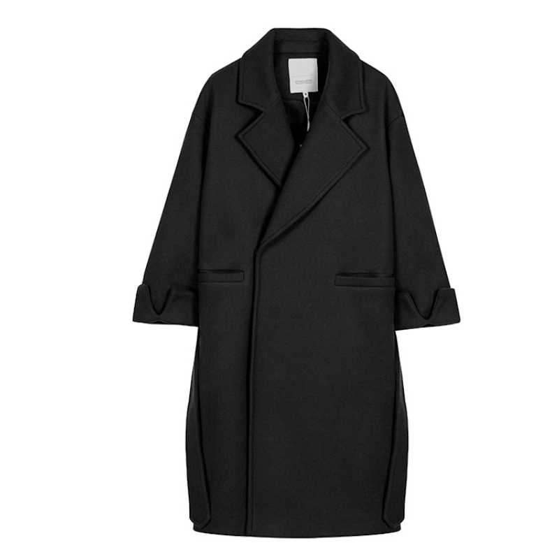 Winter women Faux cashmere wool jacket 2019 new fashion medium long loose woolen coat black slim long-sleeved woolen outerwear