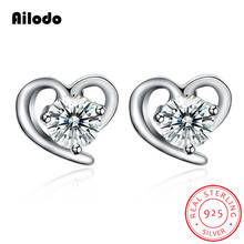 Ailodo Real 925 Sterling Silver Heart Stud Earrings For Women Girls Clear CZ Femme Party Wedding Jewelry Gift LD296