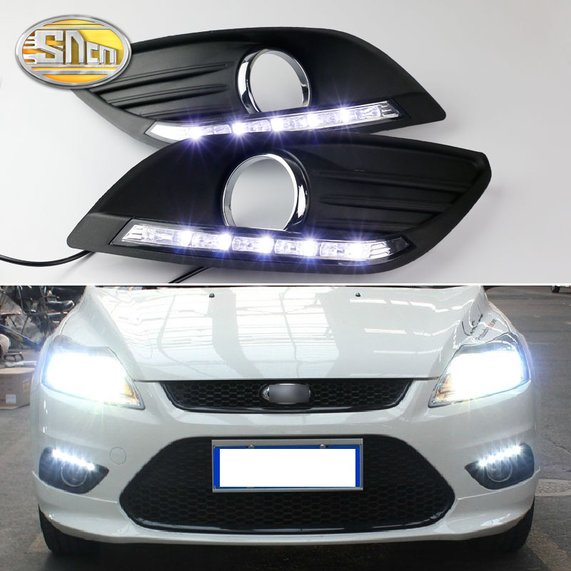 2 шт. Светодиодный дневной светильник для Ford Focus 2 MK2 2009 2010 2011 2012 2013 2014 авто затемнением Функция 12V авто светодиодный DRL лампа