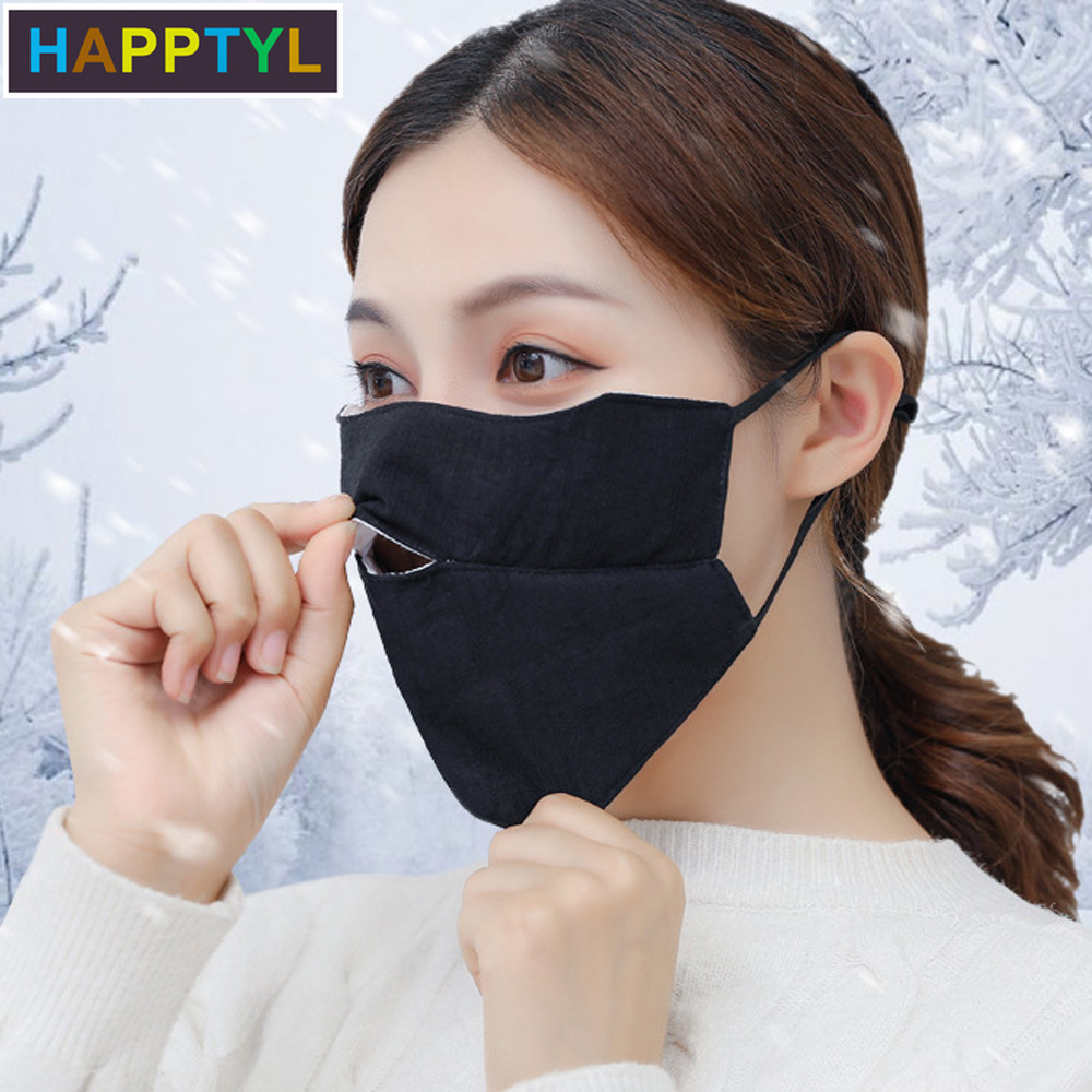 HAPPTYL 1Pcs Warm Cotton Face Mouth Mask For Breathable Mouth Mask Washable Anti Dust Mouth Mask For Winter Cycling