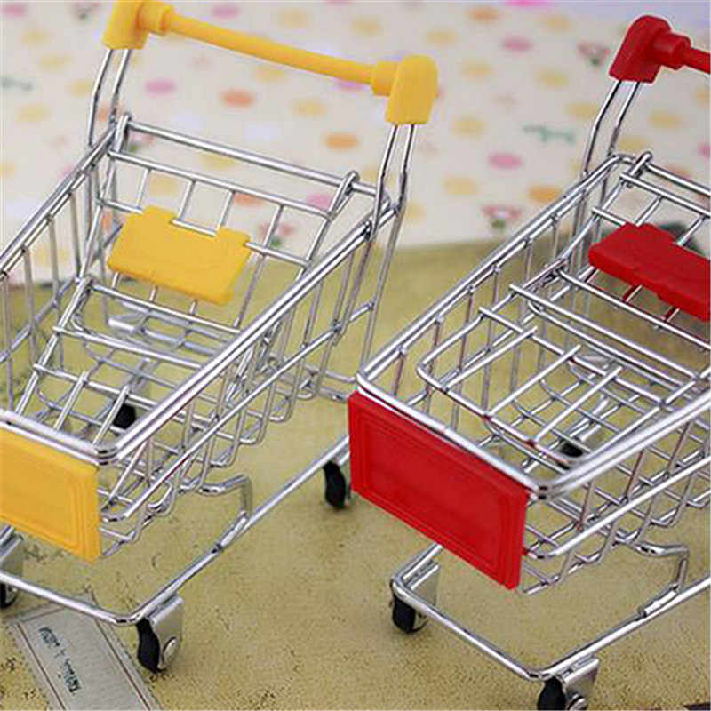 Bequem Supermarkt Hand Trolley Mini Warenkorb Desktop Dekoration Lagerung Spielzeug Geschenk Einkaufen Pretend Spielen spielzeug