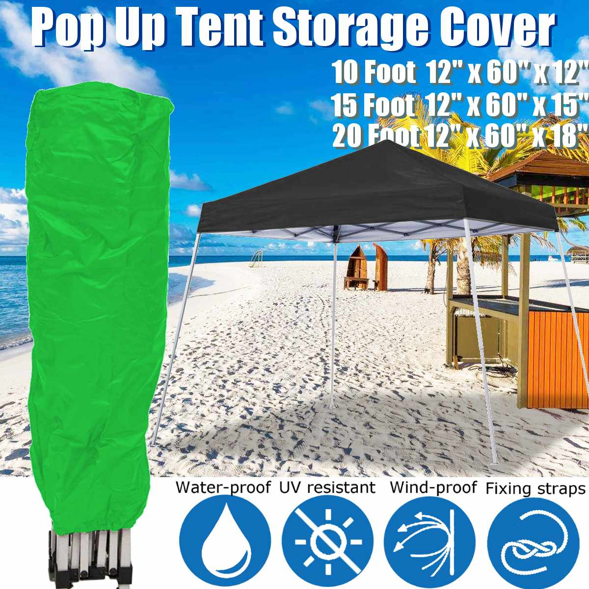 Dustproof Anti-UV Cover Bag  Pop Up Canopy Tent Storage Bag Garden Gazebos Fits 10x10/10x15/10x20 Straight Leg Canopy Frames