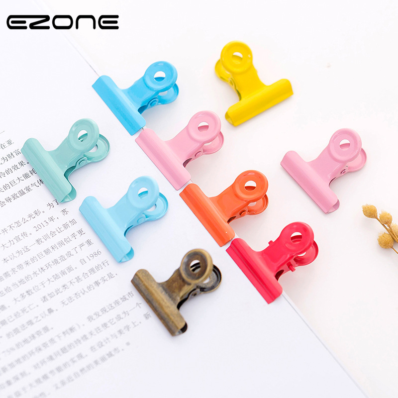 EZONE 2PCS Candy Color Metal Clip Stationery Storage Clip Paper Book Clip Metal Binder Clips School Office Practical Stationery
