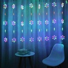 2.5M LED rideau chaîne lumière LED flocon de neige guirlande de noël maison lumières décoratives pour vacances fête de mariage décoration de jardin