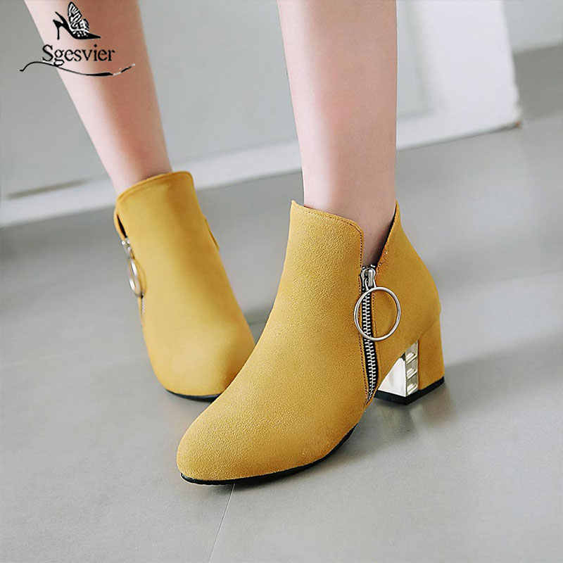 Sgesvier New thick high heels ankle women boots yellow red black autumn winter casual dress shoes woman large size 32-48 B629