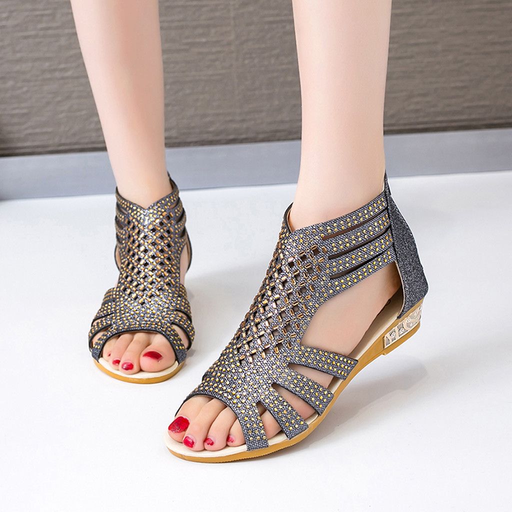 2020 Women's Ladies Wedge Sandals Fashion Crystal Bling Hollow Out Roman Shoes Sexy High Quality Outside Summer Ladies Shoes
