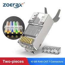 Zoerax 100 pces cat7 metal blindado rj45 conectores modulares plug-cat 7 ftp 8p8c rede rj 45 cabo conector ethernet friso