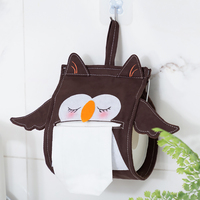 Cute Owl Rabbit Brown Bear Cloth Animal Wall Hanging Tissue Holder Washroom Wall Home Decor Roll Paper Tissue Box Holder R3157