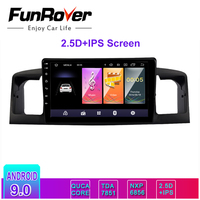 FUNROVER 2.5D+IPS Android 9.0 car multimedia player dvd GPS auto Radio for toyota Corolla E120 e 120 BYD F3 WIFI stereo 2 din bt