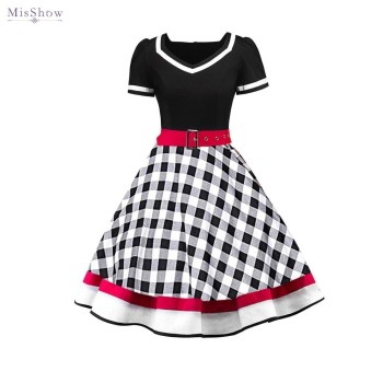 50s Vintage Rockabilly Dress Women Summer Retro Plaid Swing Pin Up Dress Elegant Party Dress Vestidos Robe Femme