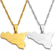 Anniyo itália sicília mapa com nome da cidade pingente colares, cor prata/cor do ouro italiano sicilia jóias presentes #038321