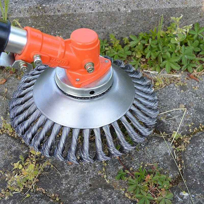 Twist Wire Wheel Trimmer Head Brush Crimped Bench Grass Weeding Dust Remover Mower For Gardening Lawn Yard Patio Cutting