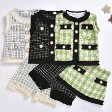 LOOZYKIT Fashion Cute 2Pcs Set Kids Baby Girl Retro Plaid Outfits Suit Sleeveless Coat+Skirt Baby Girl Clothes 0M-5T Girl Dress(China)