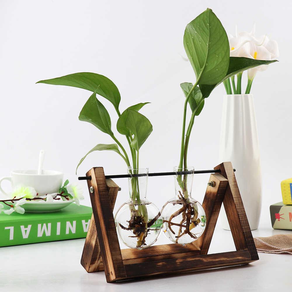 Vasos de Flores do vintage Criativo Moldura De Madeira Sala de Café Mesa de Vidro Transparente Vaso Hidropônico Planta Plantas Bonsai Casa Decoração