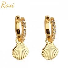 ROXI – boucles d'oreilles géométriques en argent Sterling 925, Zircon blanc, cerceau pour femmes, Dangle Shell, Cartilage, Huggie Pendientes, bijoux
