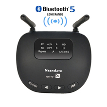 3 In 1 Bluetooth 5.0 Transmitter Receiver Long Range 3.5mm Wireless Audio Adapter for TV Headphone aptX LL/HD Low Latency RCA