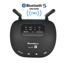 Receptor y transmisor de Audio 3 en 1 con Bluetooth 5,0, adaptador de Audio inalámbrico de largo alcance de 3,5mm para auriculares de TV, aptX LL/HD, RCA de baja latencia