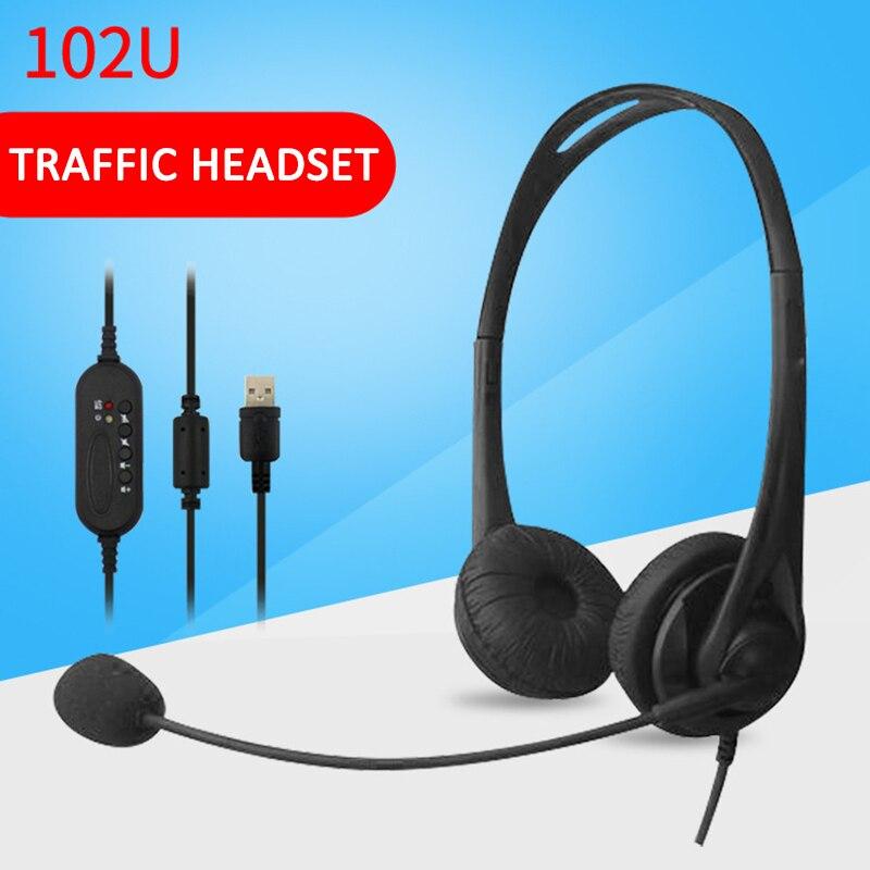 Auriculares Binaural USB 102U, auriculares con cable, estéreo, USB, micrófono con cancelación de ruido, nuevo auricular para centro de llamadas, oficina y tráfico