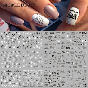 12pcs Love Letter Slider Stickers for Nails Sexy Girl Water Transfer Sticker Decal Flower Leaf Manicuring DIY Tips Decoration