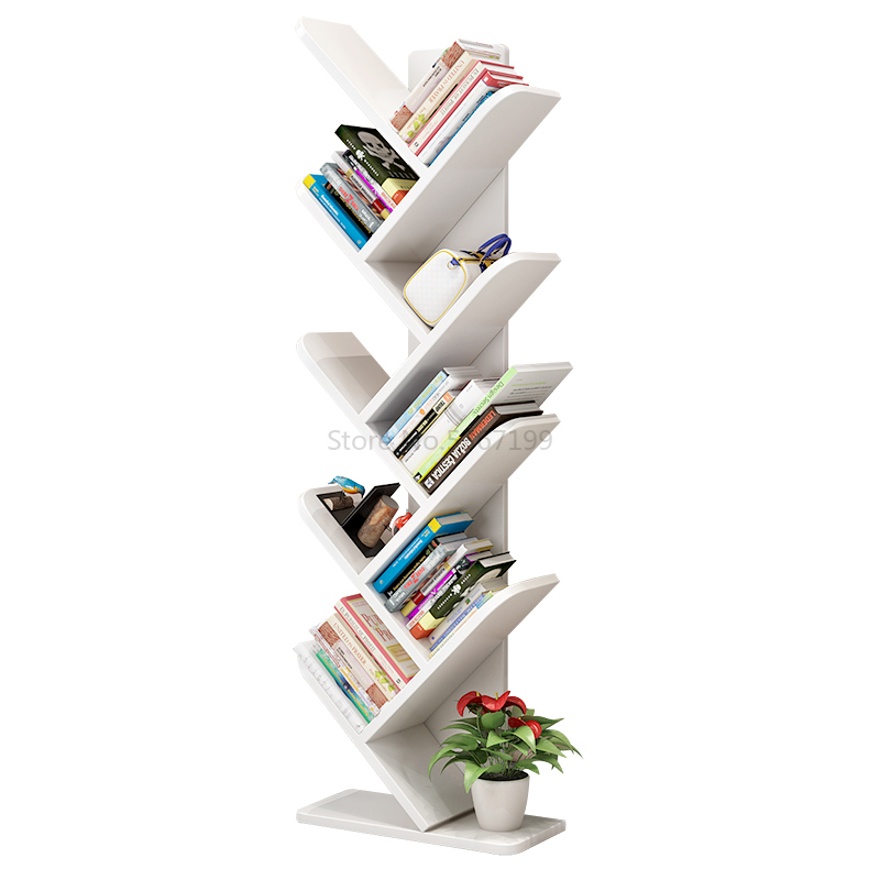 Creative Tree Bookshelf Solid Wood Bookcase Bookshelf Children's Student Study Bedroom Living Room Bookcase