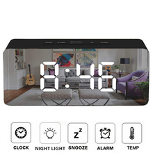 Светодиодный цифровой будильник, зеркальный повтор, настольные часы, отображение времени и температуры, светильник для пробуждения, электронное большое украшение для дома часы