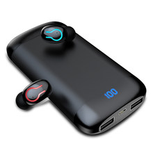 Q66 Wireless V5.0 Bluetooth Earphone HD Stereo Headphone Sports Waterproof Headset With Dual Mic and 6000mAh Battery Charge(China)