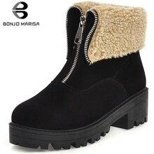 BONJOMARISA Plus Size 34-46 Winter non-slip Platform Booties Ladies Add Fur Ankle Boots Women 2019 Warm Med Heels Shoes Woman