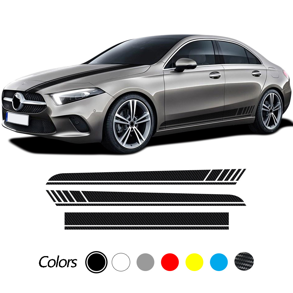 Car Hood Decals Side Stripes Skirt Stickers For Mercedes Benz A Class W177 V177 A35 A45 A45S W176 AMG Accessories Edition 1 AMG